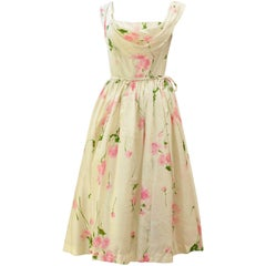 1950s Suzy Perette Raw Silk Floral Dress