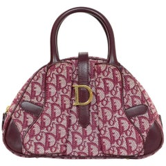 Christian Dior Vintage Red Diorissimo Monogram D Buckle Double Saddle Bowler Bag
