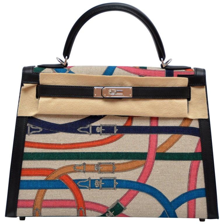 "Hermes Toile de Camp Limited Edition 32cm ""Cavalcadour"" Kelly Bag  For Sale"