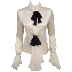 Valentino Ivory Silk Long Sleeve Blouse with Black Sequined Bows
