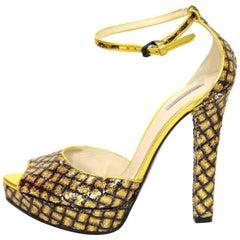 Bottega Veneta Gold Sequin Open-Toe Sandals Sz 38.5 NEW