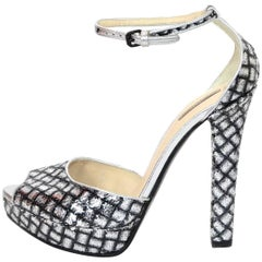 Bottega Veneta Silver Sequin Open-Toe Sandals Sz 38.5 NEW