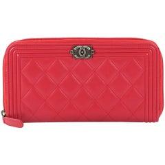 Chanel Boy L-Gusset Zip Wallet Quilted Lambskin Long