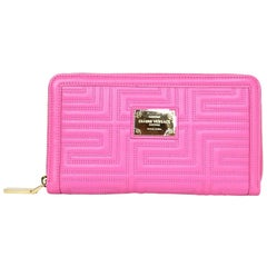 Versace Pink Leather Zip Around XL Wallet NIB