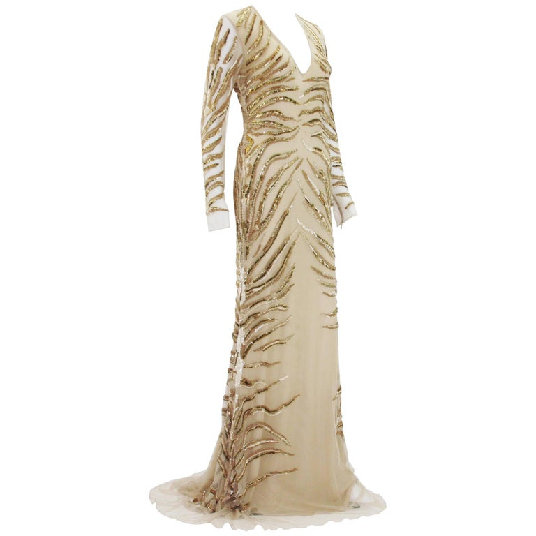 New Roberto Cavalli Nude Beaded Embroidery Mesh Dress Gown size 40 For Sale