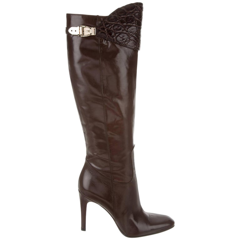 New Size 8.5 Rare Gucci Alligator & Leather Boots