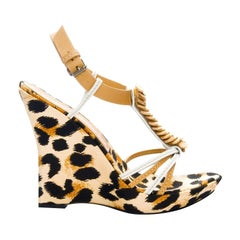 New Casadei Leopard Platform Heels Sz 5.5