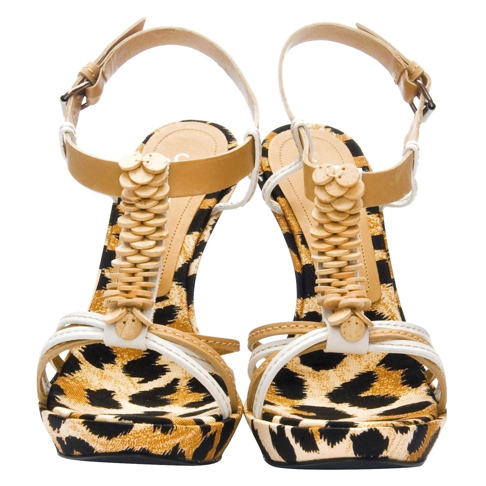 New Casadei Leopard Platform Heels Sz 6.5