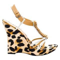 New Casadei Leopard Platform Heels Sz 7.5