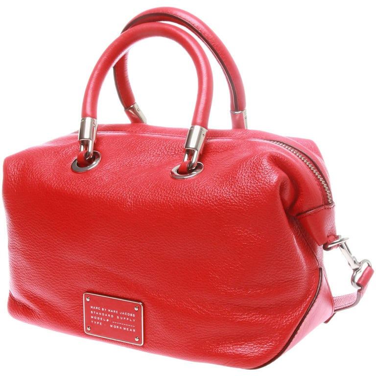 Marc Jacobs red calf leather workwear handbag