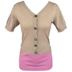 Louis Vuitton Beige and Pink Color Block Lurex Back Cardigan Top