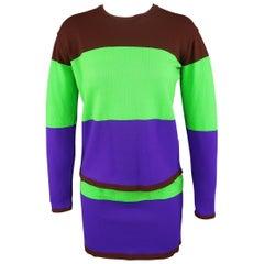 ISSEY MIYAKE Size M Green Brown & Purple Color Block Knit Skirt Set