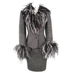ESCADA Size 6 Silver Lurex Boucle Ostrich Feather Trim Skirt Suit