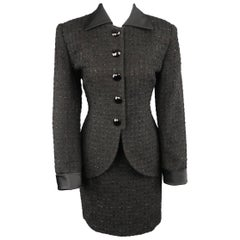 Vintage CHRISTIAN DIOR Size 8 Black Lurex Plaid Boucle Satin Collar Skirt Suit