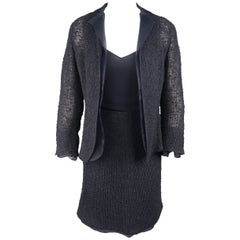 AKRIS Size 6 Navy Mesh Knit Jacket Chiffon Camisole Skirt Set