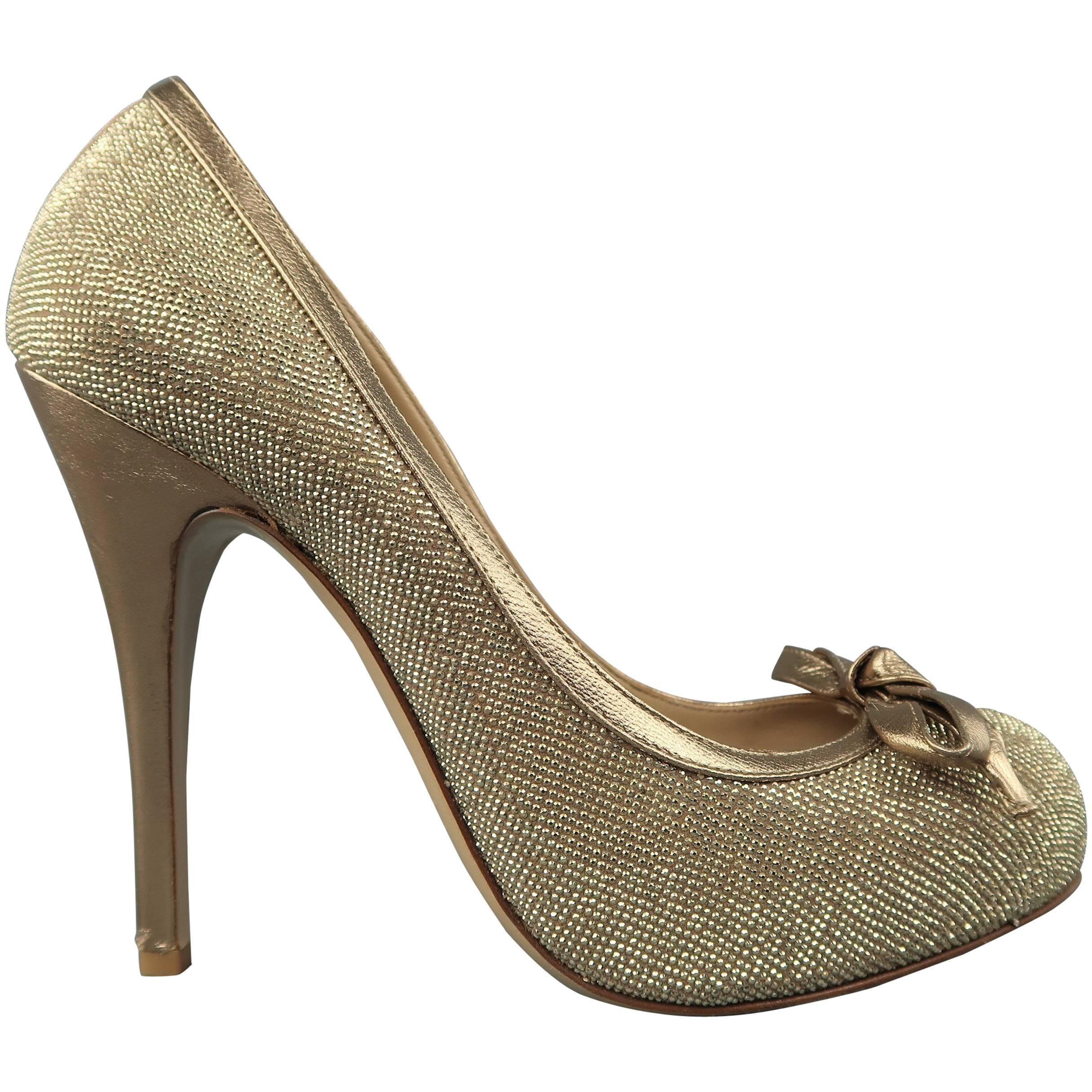VALENTINO Size 9 Gold Crystal Studded Leather Platform Bow Pumps