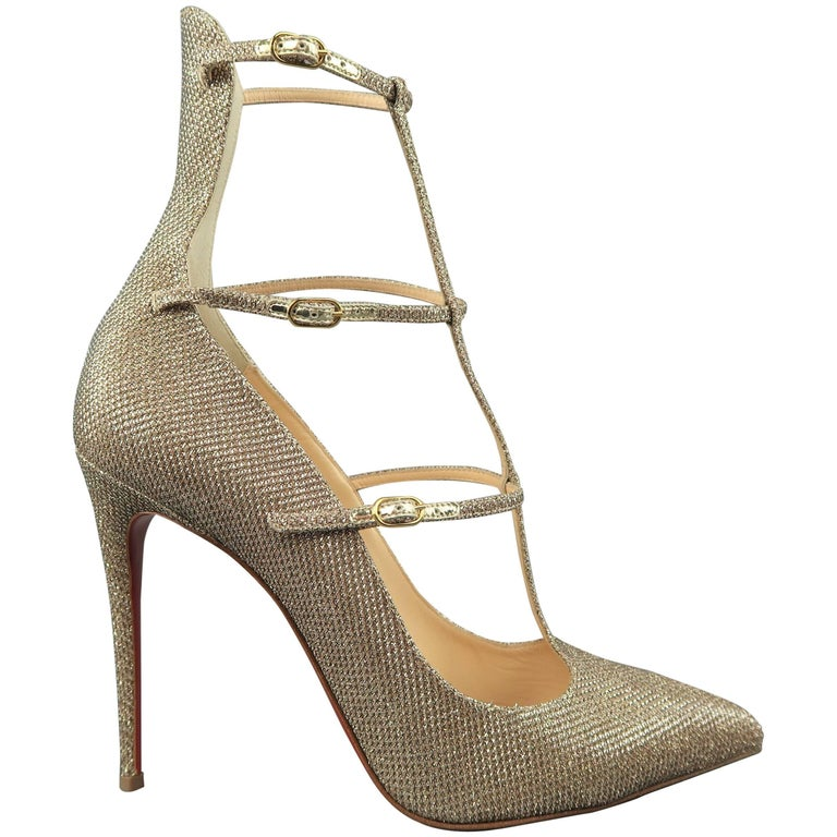 CHRISTIAN LOUBOUTIN Heels Size 9 Gold Sparkle Leather Toerless Muse Strap Pumps