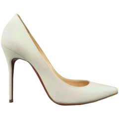 CHRISTIAN LOUBOUTIN 9 Ivory Iridescent Glitter Leather Pigalle Follies Pumps