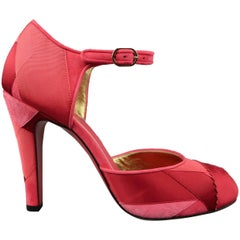 CHANEL Size 8.5 Raspberry Red Suede & Silk Grosgrain Ribbon Patchwork Pumps