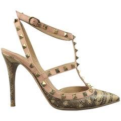 VALENTINO Size 9.5 Lizard Leather Pink Trim Rockstud T Strap Pumps