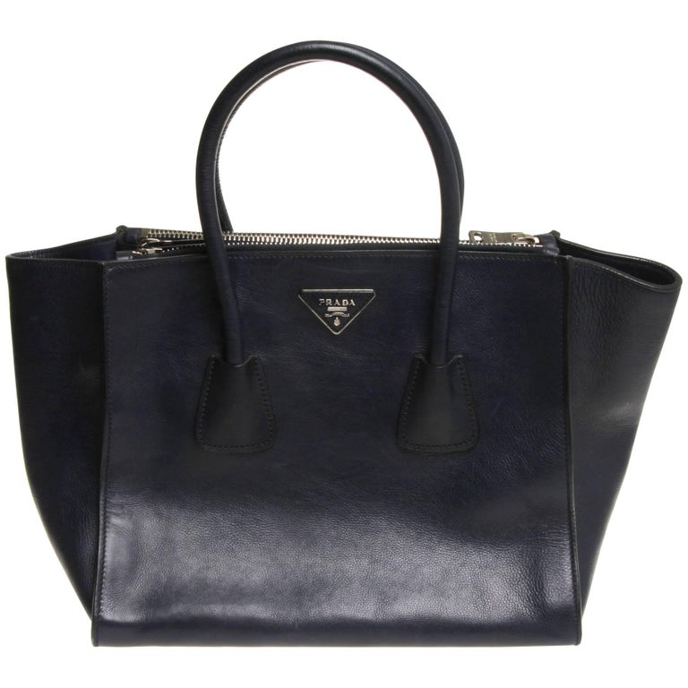 Prada Navy Baltico Vitello Twin Double Zip Tote