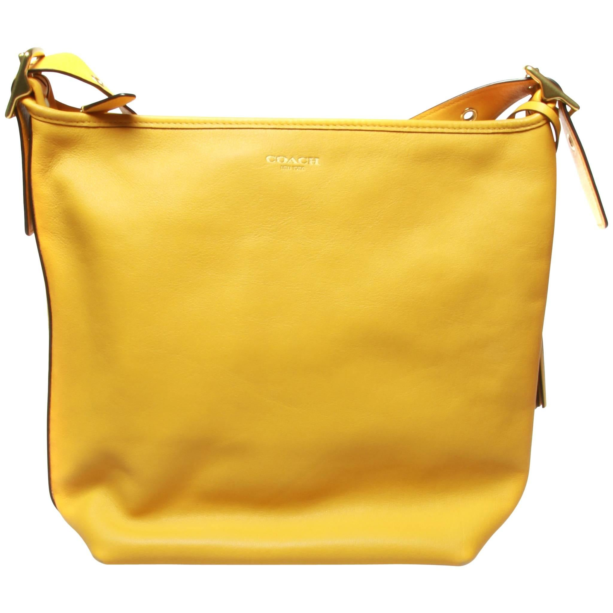 ... buy coach large ladies yellow handbag duffle crossbody with dust cover  and gold hard for sale 2e39151f0ab5c