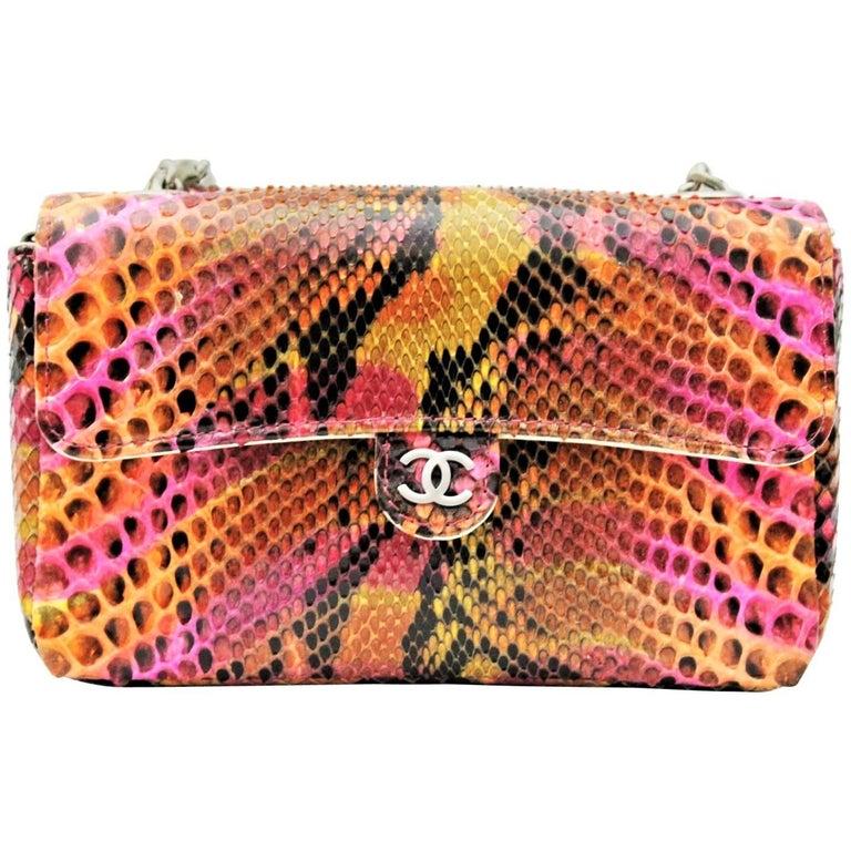 Chanel Mini Flap Multicolor Python Bag