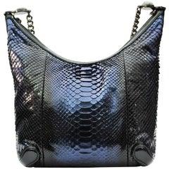 Gucci Navy Blue Python Hobo Bag