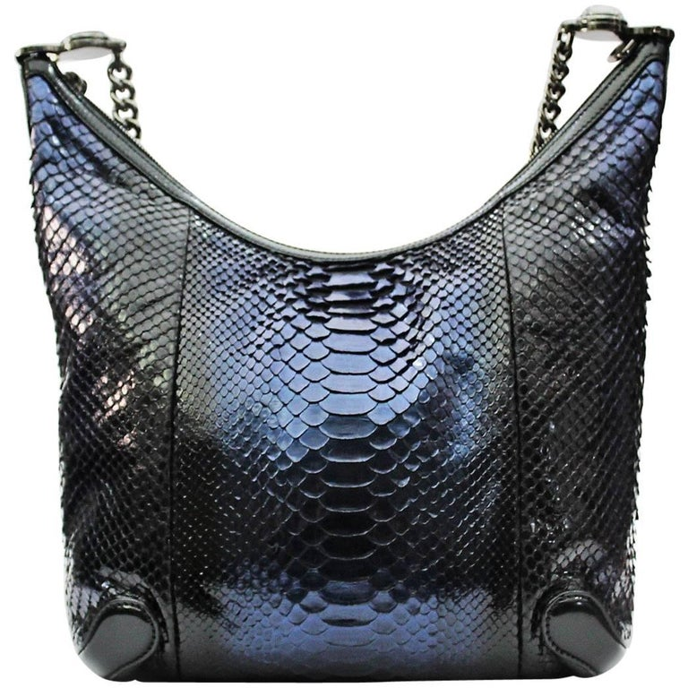 cce1fc6de723 Gucci Navy Blue Python Hobo Bag For Sale at 1stdibs