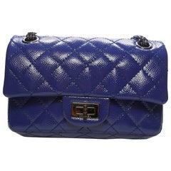 Chanel 2.55 Reissue 225 Purple Patent Caviar Silver Chain Double Flap Bag New