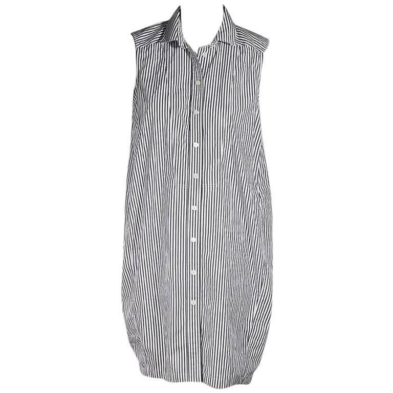 Blue & White Gucci Pinstriped Shirtdress