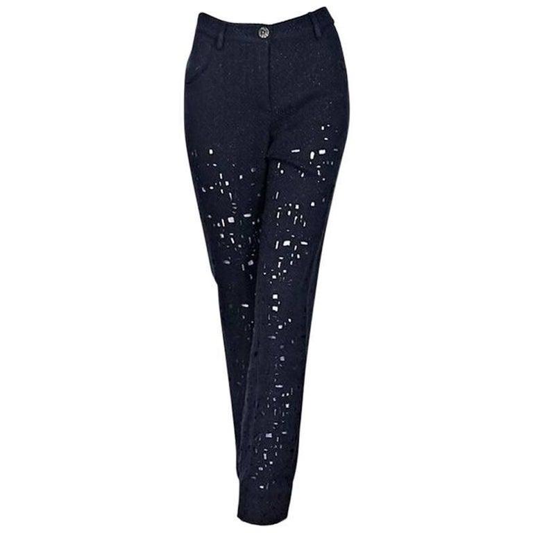 Blue Chanel Metallic Cotton-Blend Pants