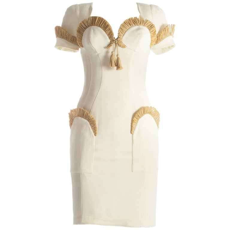 Thierry Mugler ivory cocktail dress with raffia trim, S / S 1995