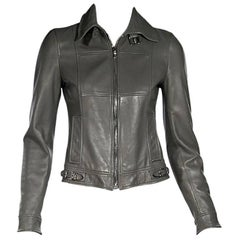 Grey Dolce & Gabbana Leather Jacket