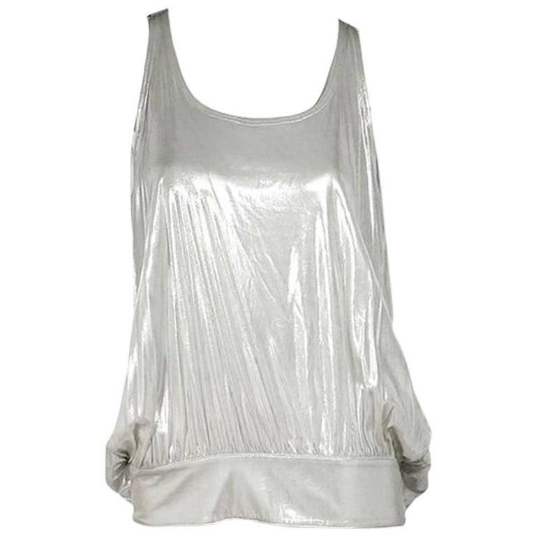 Metallic Silver Fendi Draped-Back Top