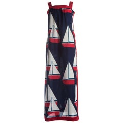 Hermes cotton sailing boat print maxi sundress, circa 1960s