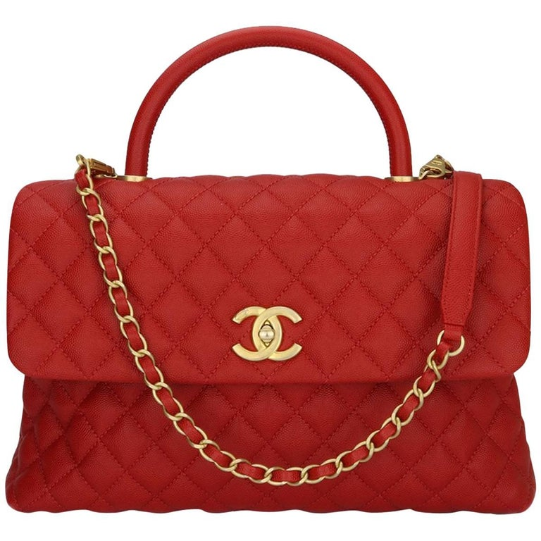 77f735f8de6ace Chanel Coco Handle Large Red Caviar bag with Brushed Gold Hardware, 2018  For Sale