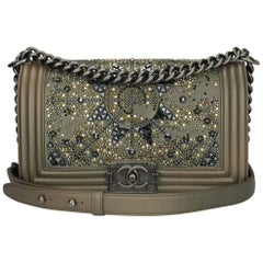 Chanel Old Medium Crystal Boy Metallic Bronze Ruthenium Hardware Goatskin Bag