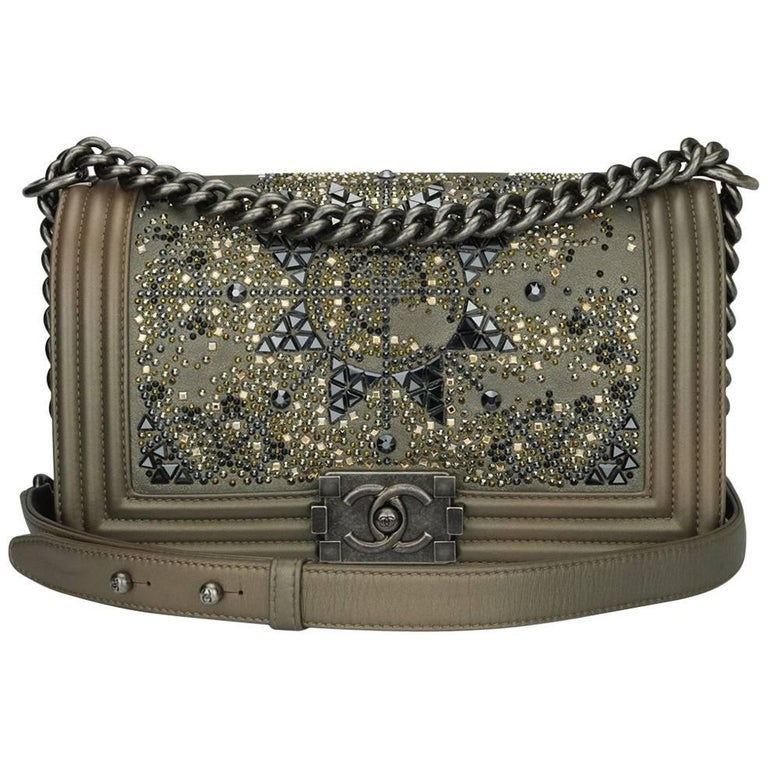 3f5b5c657bc0 Chanel Old Medium Crystal Boy Metallic Bronze Ruthenium Hardware Goatskin  Bag For Sale