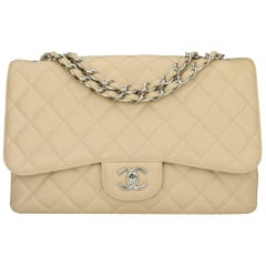 CHANEL Classic Single Flap Jumbo Beige Clair Caviar with Silver Hardware 2009