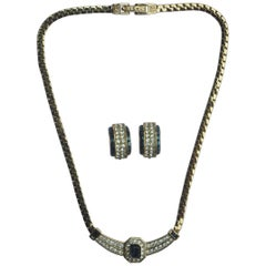 Attwood & Sawyer Blue Crystal and Rhinestone Necklace and Earrings Set