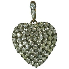 Victorian Pave Crystal Paste Puffy Heart