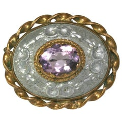 Victorian Aluminum and Amythest Brooch