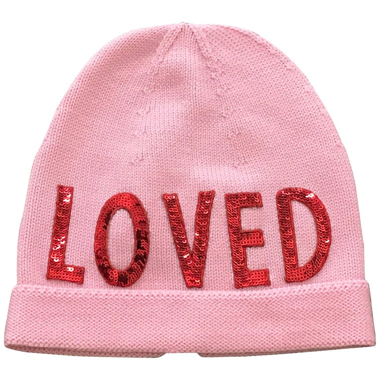 130d886e5 New Gucci Loved Red Sequin Pink Knit Slouchie Beanie Wool Hat