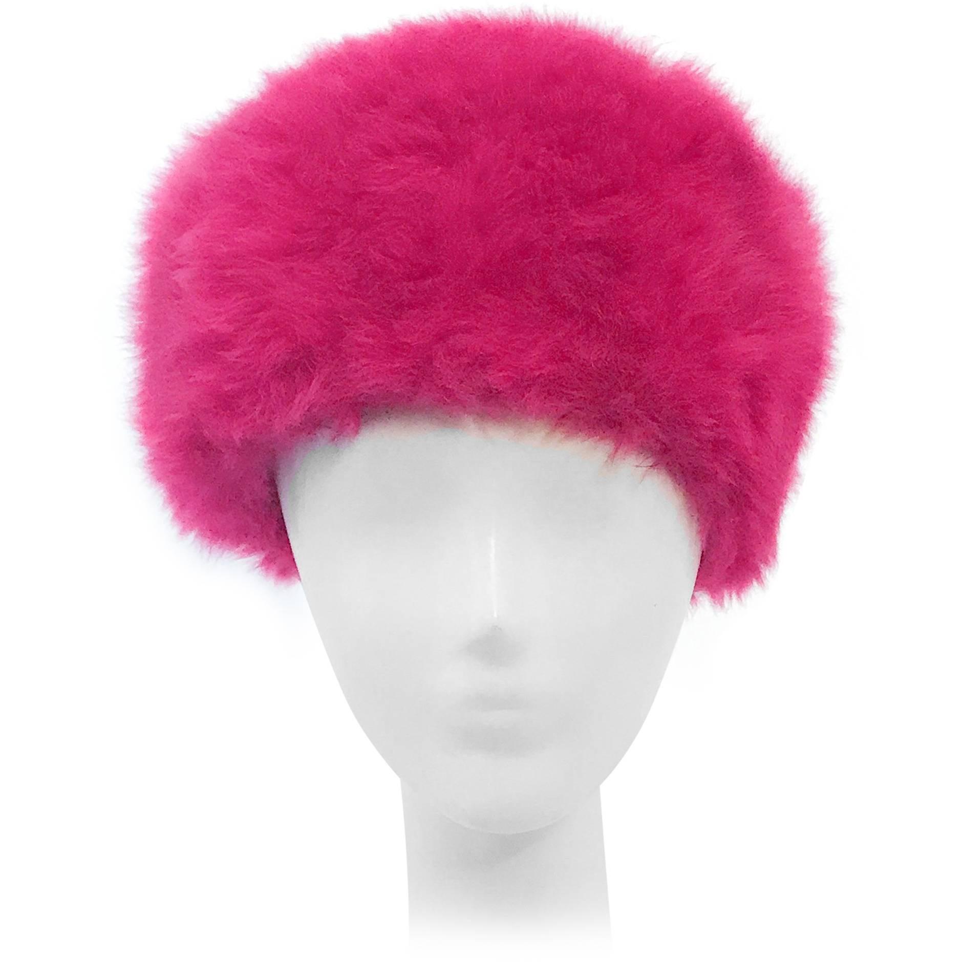 1960s Leslie James Magenta Angora Fur Felt Hat