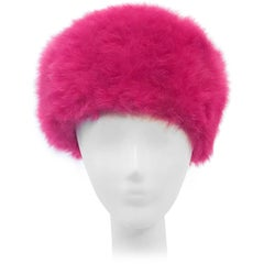 1960s Leslie James Magenta Angora Fur Felt Hat