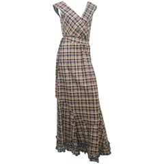 1930s Plaid Cotton Picnic Dress