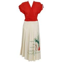 1940's Marion McCoy Under-The Sea Novelty Embroidered Linen Full Skirt Dress
