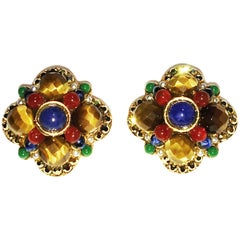 Jose & Maria Barrera semi precious stones vintage earrings