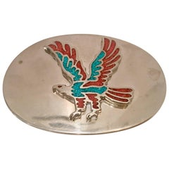 70'S Navajo Style Silver Turquoise & Coral Thunderbird Belt Buckle